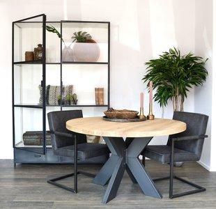Eettafel rond eiken blad 140 cm met metalen onderstel