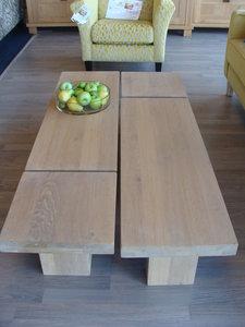 Maatwerk eiken salontafelset
