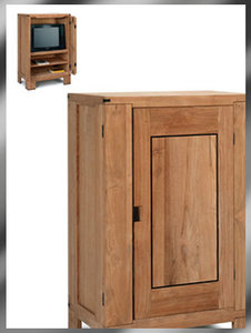 Outlet teak tv kast met omslaande deur / VERKOCHT